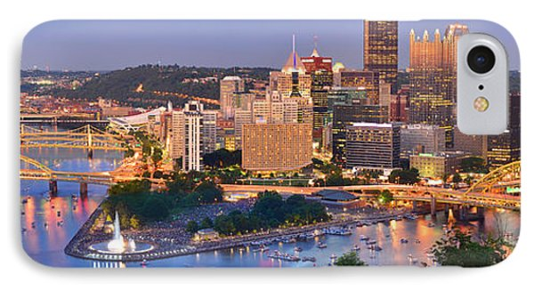 Pittsburgh Pennsylvania Skyline At Dusk Sunset Panorama Phone Case by Jon Holiday