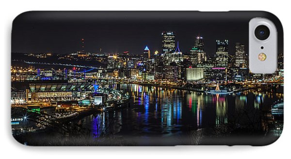Pittsburgh Skyline At Night IPhone Case by April Reppucci