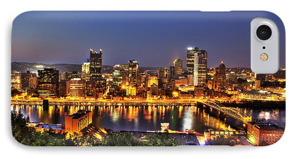 Pittsburgh Skyline At Night Phone Case by Shawn Everhart