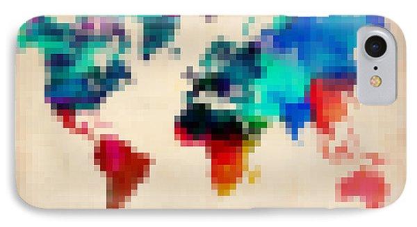 Pixelated World Map Phone Case by Naxart Studio