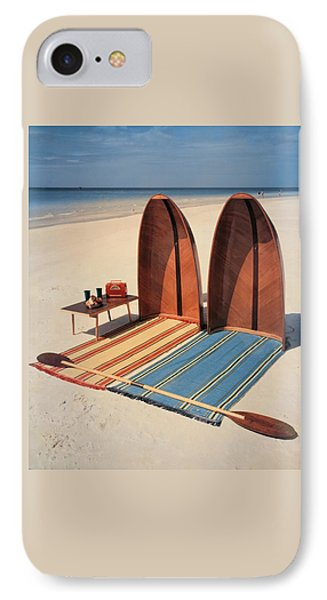 Pixie Collapsible Boat On The Beach IPhone Case by Lois and Joe Steinmetz