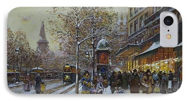 Place De La Republique Paris IPhone Case by Eugene Galien-Laloue