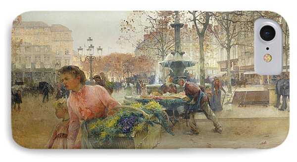 Place Du Theatre Francais Paris Phone Case by Eugene Galien-Laloue
