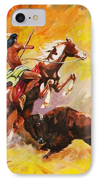 IPhone Case featuring the painting Plains Ecounter by Al Brown