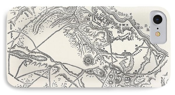 Plan Of The Siege Of Yorktown. From Stedmans History IPhone Case by American School