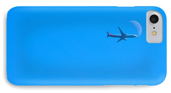 Plane Crossing The Moon IPhone Case by John Rossman