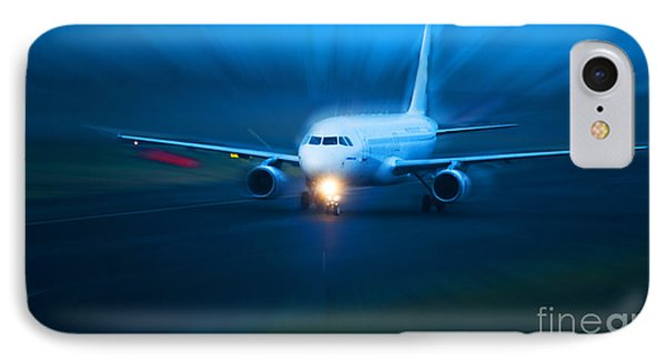 Plane Takes Of At Dusk Phone Case by Michal Bednarek