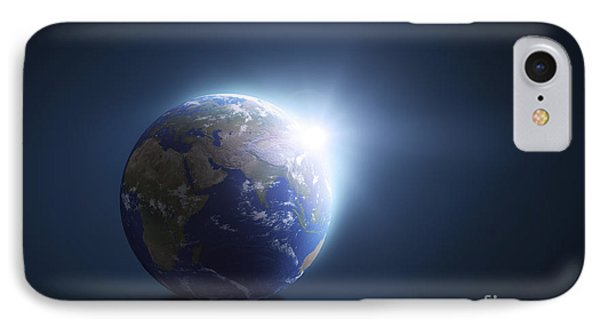 Planet Earth And Sunlight On A Dark Phone Case by Evgeny Kuklev