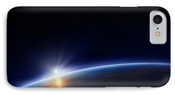 Planet Earth With Rising Sun Phone Case by Johan Swanepoel