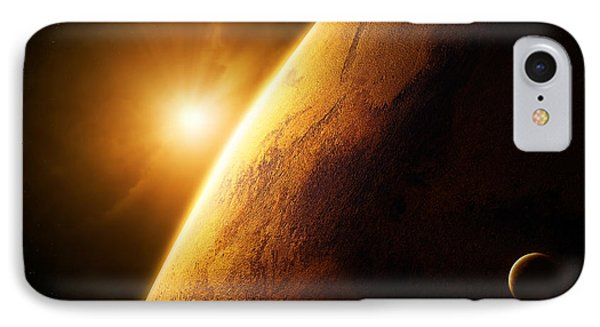 Planet Mars Close-up With Sunrise Phone Case by Johan Swanepoel
