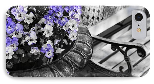 Planter With Pansies And Bench IPhone Case by Elena Elisseeva