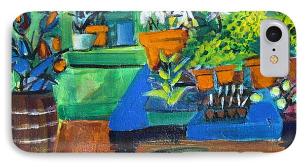 Plants In Potting Shed IPhone Case by Betty Pieper