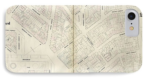 Plate 25 Map Bounded By Chambers Street, Center Street IPhone Case by Litz Collection