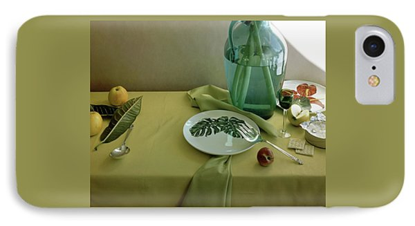 Plates, Apples And A Vase On A Green Tablecloth IPhone Case by Horst P. Horst