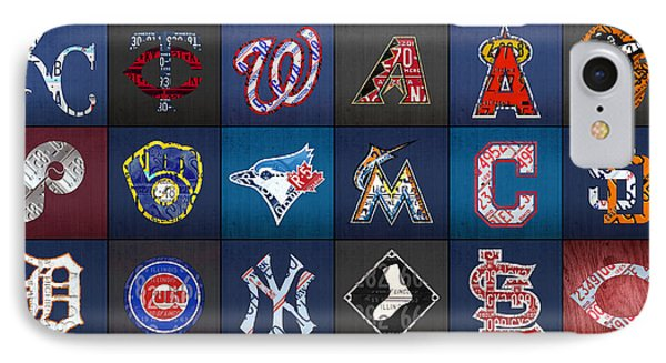 Play Ball Recycled Vintage Baseball Team Logo License Plate Art IPhone 7 Case