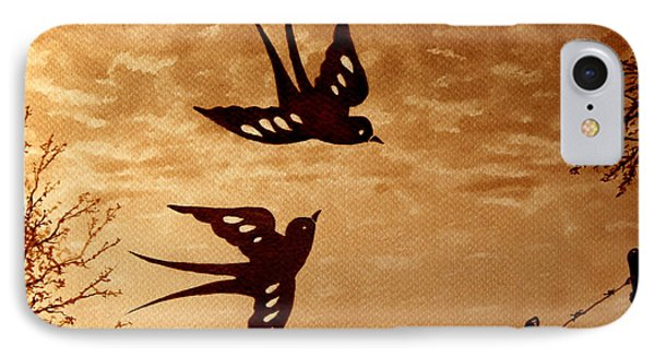 IPhone Case featuring the painting Playful Swallows Original Coffee Painting by Georgeta  Blanaru