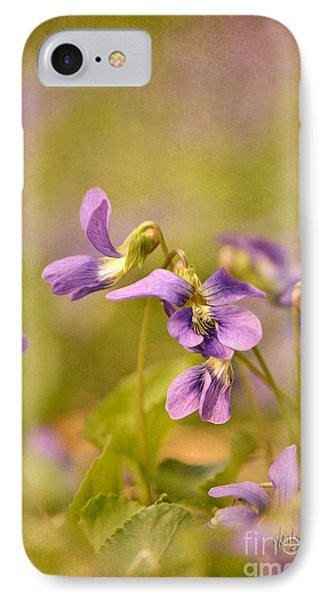 Playful Wild Violets Phone Case by Lois Bryan