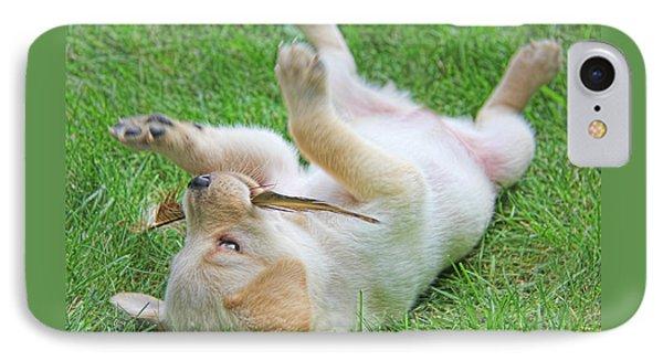 Playful Yellow Labrador Retriever Puppy Phone Case by Jennie Marie Schell