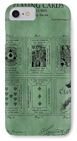 Playing Cards Patent Green IPhone Case by Dan Sproul