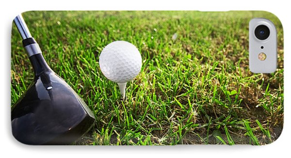 Playing Golf. Club And Ball On Tee Phone Case by Michal Bednarek