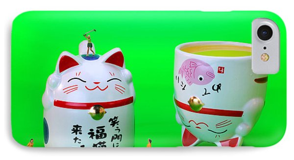 Playing Golf On Cat Cups Phone Case by Paul Ge