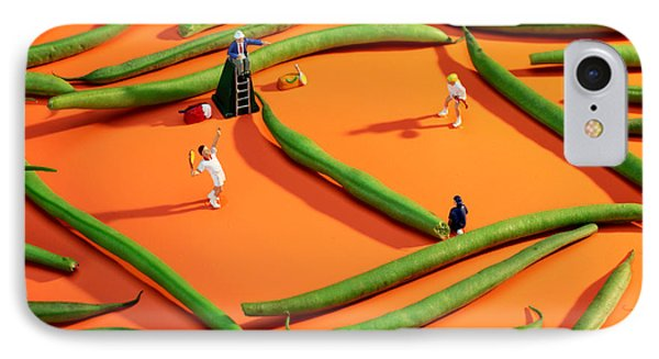 Playing Tennis Among French Beans Little People On Food IPhone Case by Paul Ge