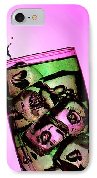 Playing Tennis On A Cup Of Lemonade Little People On Food Phone Case by Paul Ge