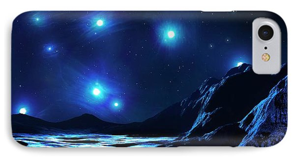 Pleiades Cluster Seen From Nearby Planet IPhone Case by Mark Garlick