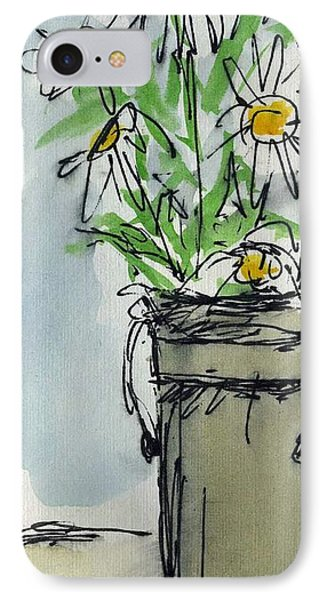 Plein Air Sketchbook. Ventura California 2011.  Tall Bucket Of Daisies From My Backyard Phone Case by Cathy Peterson