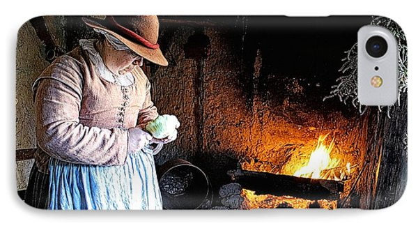 Plimoth Plantation  Pilgrim Fireplace Cooking IPhone Case by Constantine Gregory