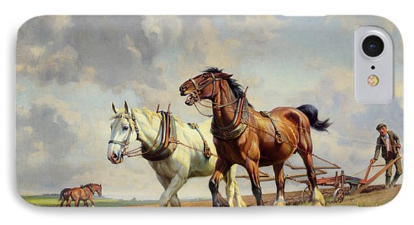 Plowing The Field IPhone Case by Wright Barker
