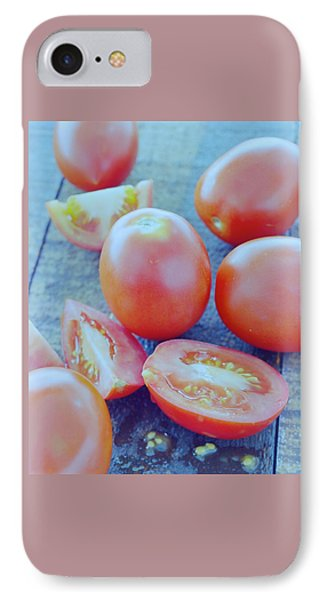 Plum Tomatoes On A Wooden Board IPhone Case by Romulo Yanes