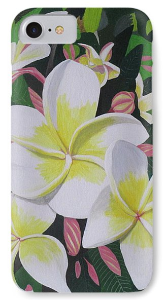 IPhone Case featuring the painting Plumeria- Aztec Gold by Hilda and Jose Garrancho