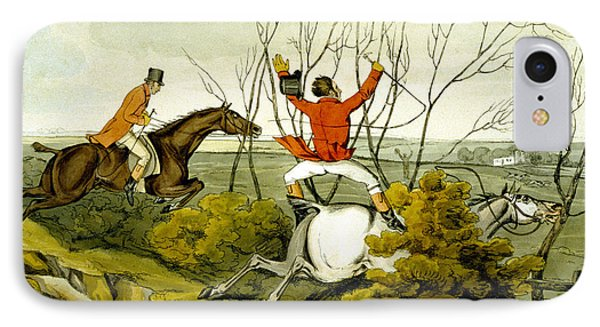 Plunging Through The Hedge From Qualified Horses And Unqualified Riders Phone Case by Henry Thomas Alken