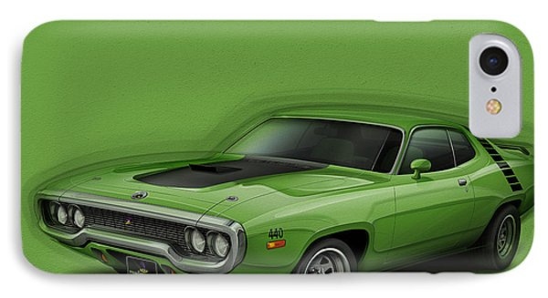 Plymouth Roadrunner 1972 IPhone 7 Case by Etienne Carignan