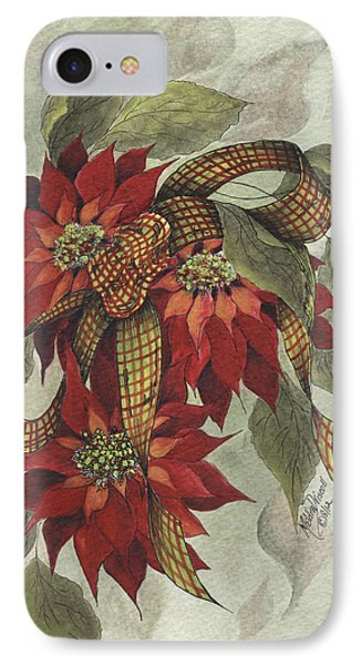 Poinsettia And Ribbon IPhone Case