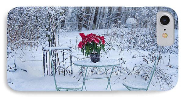 Poinsettia In The Snow Phone Case by Alana Ranney