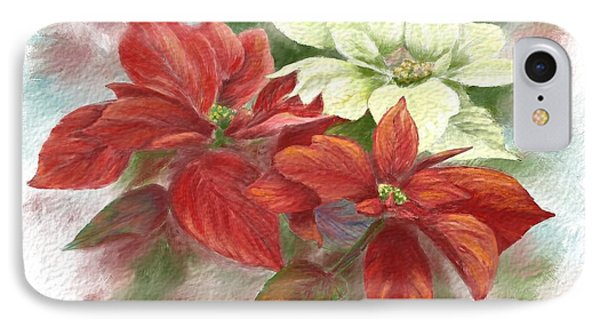 IPhone Case featuring the painting Poinsettias For The Winter Holidays by Judy Filarecki