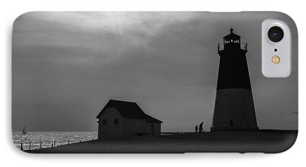 Point Judith Lighthouse Silhouette IPhone Case by Diane Diederich