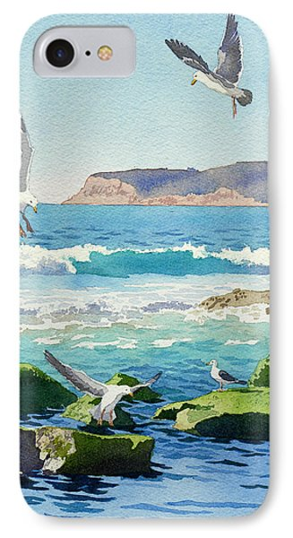 Pacific Ocean iPhone 7 Case - Point Loma Rocks Waves And Seagulls by Mary Helmreich
