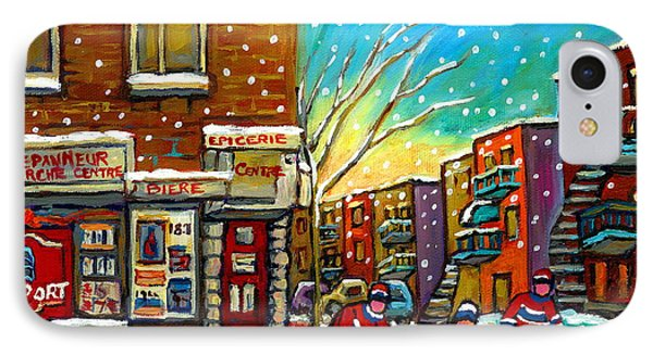 Pointe St. Charles Hockey Game At The Depanneur Montreal City Scenes Phone Case by Carole Spandau