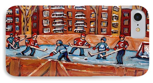 Pointe St. Charles Hockey Rink Southwest Montreal Winter City Scenes Paintings Phone Case by Carole Spandau