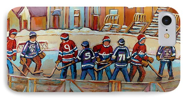 Pointe St. Charles Hockey Rinks Near Row Houses Montreal Winter City Scenes Phone Case by Carole Spandau