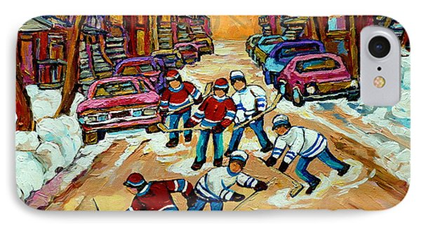Pointe St.charles Hockey Game Winter Street Scenes Paintings IPhone Case by Carole Spandau