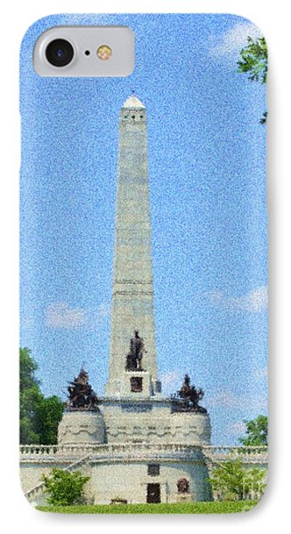 IPhone Case featuring the digital art Pointelisticlincoln's Tomb  by Luther Fine Art