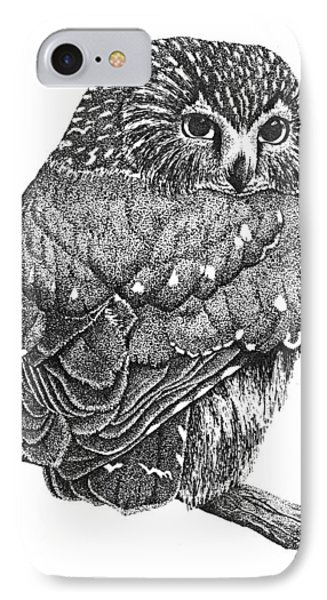 Pointillism Sawhet Owl Phone Case by Renee Forth-Fukumoto
