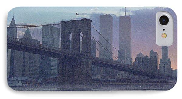 Pointillistic Brooklyn Bridge Lower Manhattan IPhone Case by Tom Wurl