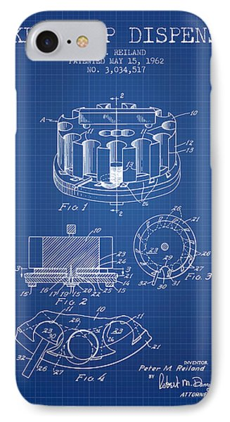 Poker Chip Dispenser Patent From 1962 - Blueprint IPhone Case by Aged Pixel