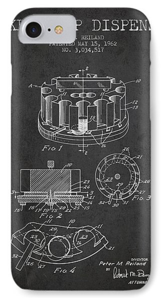 Poker Chip Dispenser Patent From 1962 - Charcoal IPhone Case by Aged Pixel