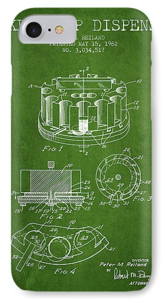 Poker Chip Dispenser Patent From 1962 - Green IPhone Case by Aged Pixel